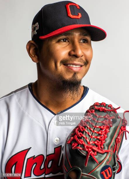 Carlos Carrasco of the Cleveland Indians poses for a portrait at the Cleveland Indians Player Development Complex on February 21 2019 in Goodyear...
