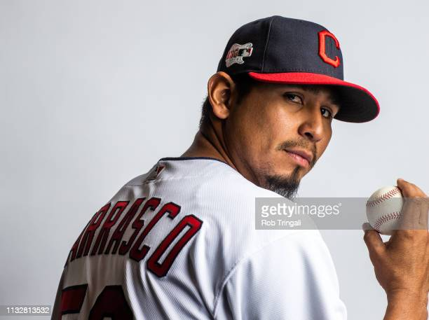 Carlos Carrasco of the Cleveland Indians poses for a portrait at the Cleveland Indians Player Development Complex on February 21, 2019 in Goodyear,...