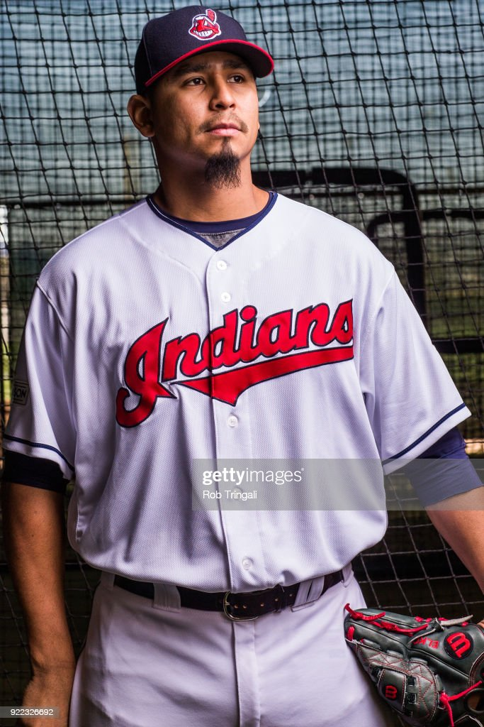 Carlos Carrasco of the Cleveland Indians poses for a portrait at the Cleveland Indians Player Development Complex on February 21, 2018 in Goodyear, Arizona.
