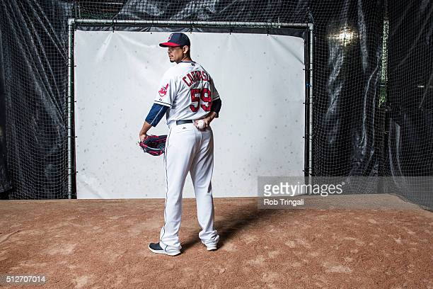 Carlos Carrasco of the Cleveland Indians poses for a portrait during photo day at the Cleveland Indians Development Complex on February 27 2016 in...