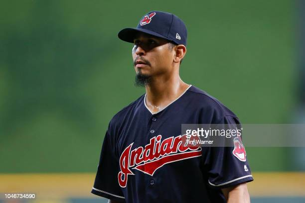 Carlos Carrasco of the Cleveland Indians reacts after being taken out of the game against the Houston Astros during Game Two of the American League...
