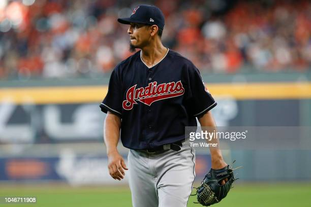 Carlos Carrasco of the Cleveland Indians reacts against the Houston Astros in the third inning during Game Two of the American League Division Series...