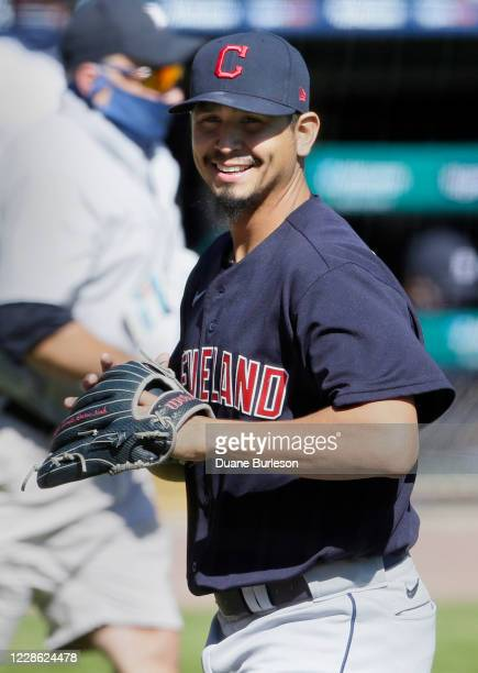Carlos Carrasco of the Cleveland Indians smiles after pitching the sixth inning of a game against the Detroit Tigers at Comerica Park on September 20...