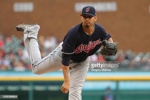 Carlos Carrasco of the Cleveland Indians throws a first inning pitch while playing the Detroit Tigers at Comerica Park on July 27, 2018 in Detroit,...