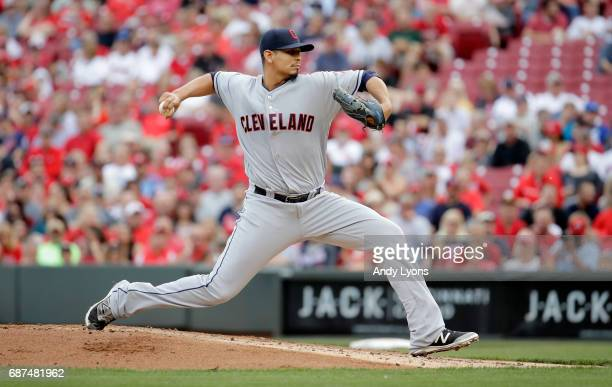 Carlos Carrasco of the Cleveland Indians throws a pitch during the game against the Cincinnati Reds at Great American Ball Park on May 23 2017 in...