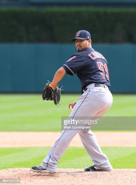 Carlos Carrasco of the Cleveland Indians throws a warmup pitch during game one of a double header against the Detroit Tigers at Comerica Park on...
