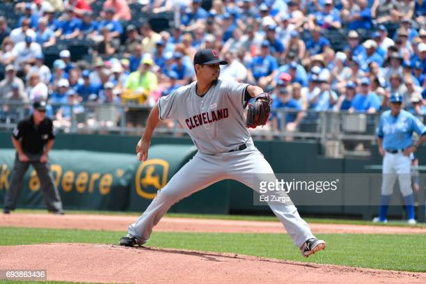 Carlos Carrasco of the Cleveland Indians throws against the Kansas City Royals at Kauffman Stadium on June 3 2017 in Kansas City Missouri
