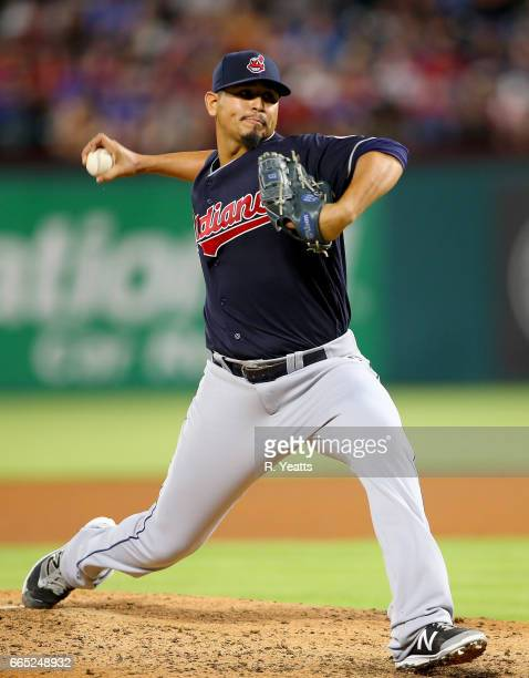 Carlos Carrasco of the Cleveland Indians throws in the fifth inning against the Texas Rangers at Globe Life Park in Arlington on April 4 2017 in...