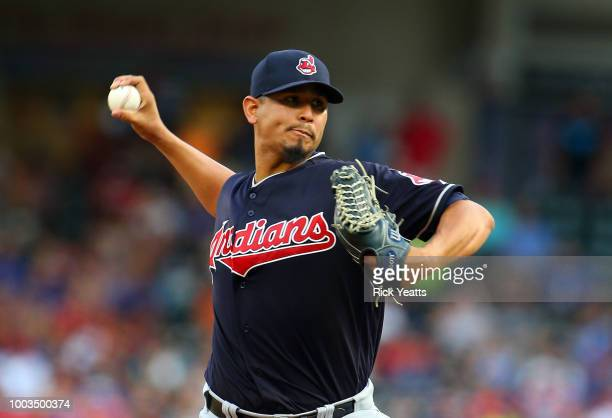 Carlos Carrasco of the Cleveland Indians throws in the first inning against the Texas Rangers at Globe Life Park in Arlington on July 21 2018 in...