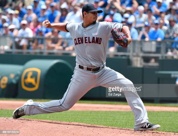 Carlos Carrasco of the Cleveland Indians throws in the first inning against the Kansas City Royals at Kauffman Stadium on June 3 2017 in Kansas City...
