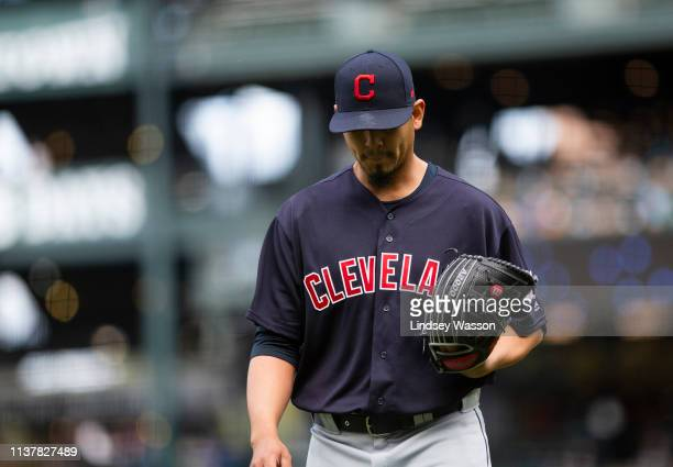 Carlos Carrasco of the Cleveland Indians walks off the field after the second inning against the Seattle Mariners at T-Mobile Park on April 17, 2019...