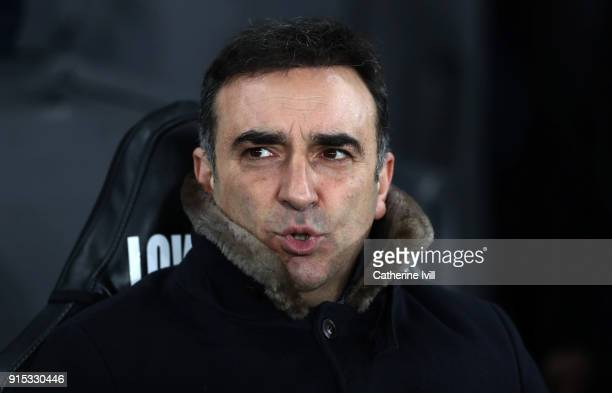 Carlos Carvalhal manager / head coach of Swansea City during the Emirates FA Cup Fourth Round replay match between Swansea City and Notts County at...