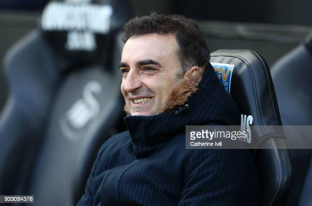 Carlos Carvalhal manager / head coach of Swansea City during The Emirates FA Cup Quarter Final match between Swansea City and Tottenham Hotspur at...