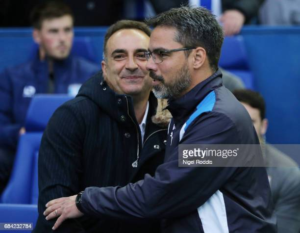 Carlos Carvalhal Manager of Sheffield Wednesday and David Wagner Manager of Huddersfield Town shake hands prior to the Sky Bet Championship play off...