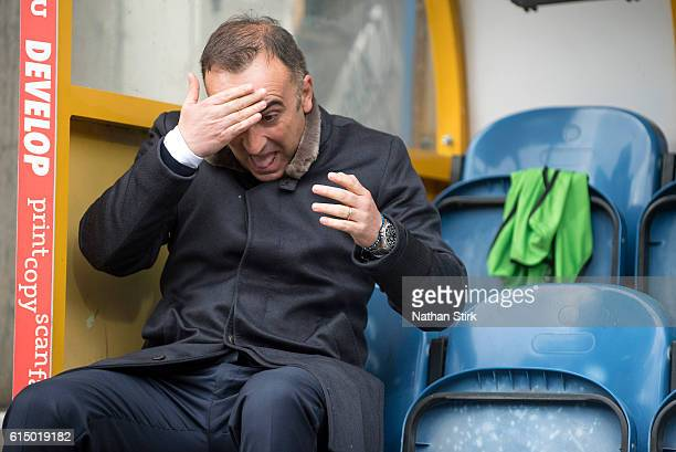 Carlos Carvalhal manager of Sheffield Wednesday laughs with the fans before the Sky Bet Championship match between Huddersfield Town and Sheffield...