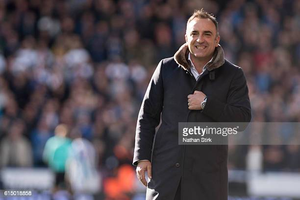 Carlos Carvalhal manager of Sheffield Wednesday looks on during the Sky Bet Championship match between Huddersfield Town and Sheffield Wednesday at...