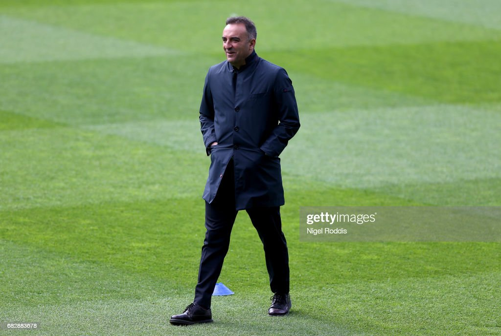 Carlos Carvalhal, Manager of Sheffield Wednesday takes a look around the pitch prior to the Sky Bet Championship Play Off Semi Final 1st leg match between Huddersfield Town and Sheffield Wednesday at Galpharm Stadium on May 14, 2017 in Huddersfield, England.