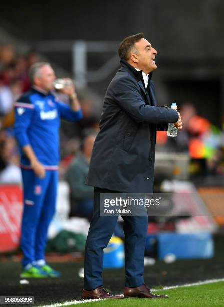 Carlos Carvalhal Manager of Swansea Cigty ives instruction to his team during the Premier League match between Swansea City and Stoke City at Liberty...