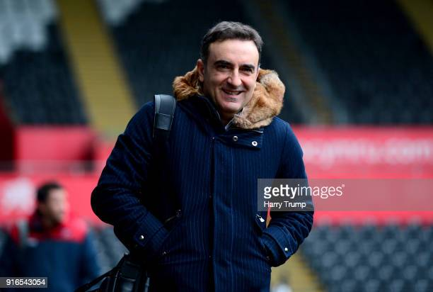 Carlos Carvalhal Manager of Swansea City arrives at the stadium prior to the Premier League match between Swansea City and Burnley at Liberty Stadium...