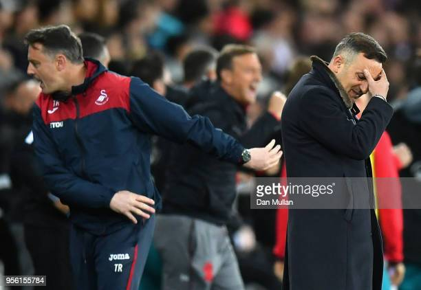 Carlos Carvalhal Manager of Swansea City looks dejected after Southampton score their first goal during the Premier League match between Swansea City...