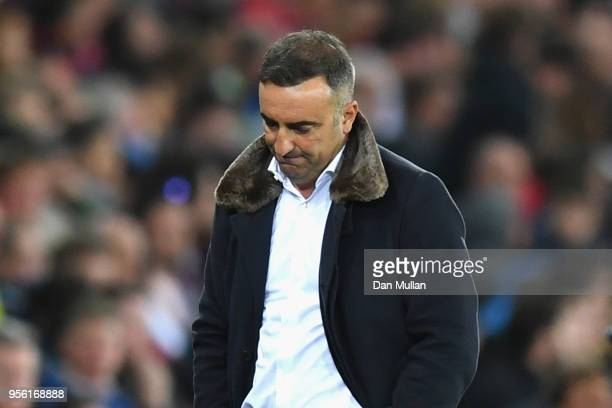 Carlos Carvalhal Manager of Swansea City looks dejected during the Premier League match between Swansea City and Southampton at Liberty Stadium on...
