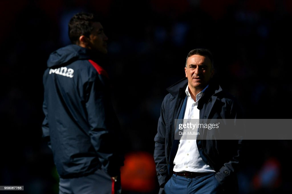 Carlos Carvalhal, Manager of Swansea City looks on after the Premier League match between Swansea City and Stoke City at Liberty Stadium on May 13, 2018 in Swansea, Wales.