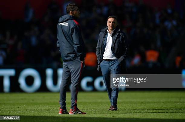 Carlos Carvalhal Manager of Swansea City looks on after the Premier League match between Swansea City and Stoke City at Liberty Stadium on May 13...