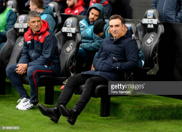 Carlos Carvalhal Manager of Swansea City looks on ahead of the Premier League match between Swansea City and Burnley at Liberty Stadium on February...
