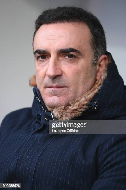 Carlos Carvalhal Manager of Swansea City looks on during The Emirates FA Cup Fourth Round match between Notts County and Swansea City at Meadow Lane...