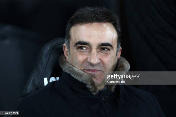 Carlos Carvalhal Manager of Swansea City looks on during The Emirates FA Cup Fourth Round match between Swansea City and Notts County at the Liberty...