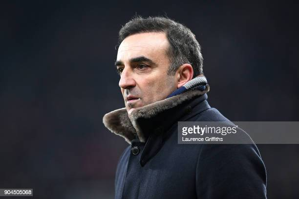 Carlos Carvalhal Manager of Swansea City looks on during the Premier League match between Newcastle United and Swansea City at St James Park on...