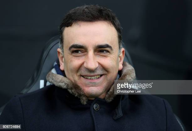Carlos Carvalhal Manager of Swansea City looks on during the Premier League match between Swansea City and West Ham United at Liberty Stadium on...