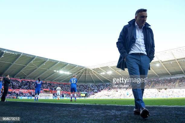 Carlos Carvalhal Manager of Swansea City looks on during the Premier League match between Swansea City and Stoke City at Liberty Stadium on May 13...