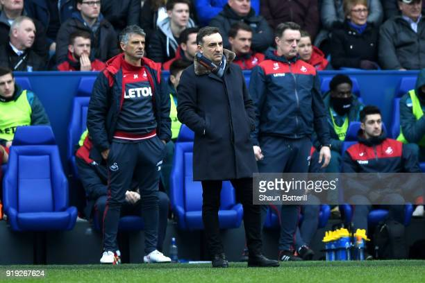 Carlos Carvalhal Manager of Swansea City looks on during the The Emirates FA Cup Fifth Round between Sheffield Wednesday v Swansea City at...