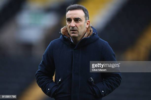 Carlos Carvalhal Manager of Swansea City looks on prior to The Emirates FA Cup Fourth Round match between Notts County and Swansea City at Meadow...