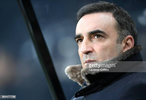 Carlos Carvalhal Manager of Swansea City looks on prior to the Premier League match between Newcastle United and Swansea City at St James Park on...