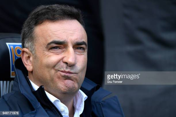 Carlos Carvalhal Manager of Swansea City looks on prior to the Premier League match between Swansea City and Everton at Liberty Stadium on April 14...