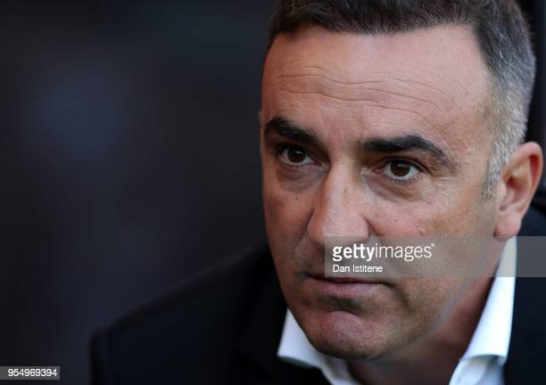 Carlos Carvalhal Manager of Swansea City looks on prior to the Premier League match between AFC Bournemouth and Swansea City at Vitality Stadium on...