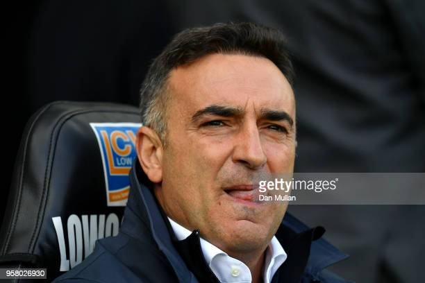 Carlos Carvalhal Manager of Swansea City looks on prior to the Premier League match between Swansea City and Stoke City at Liberty Stadium on May 13...