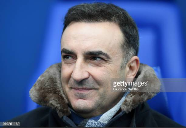 Carlos Carvalhal Manager of Swansea City looks on prior to the The Emirates FA Cup Fifth Round between Sheffield Wednesday and Swansea City at...