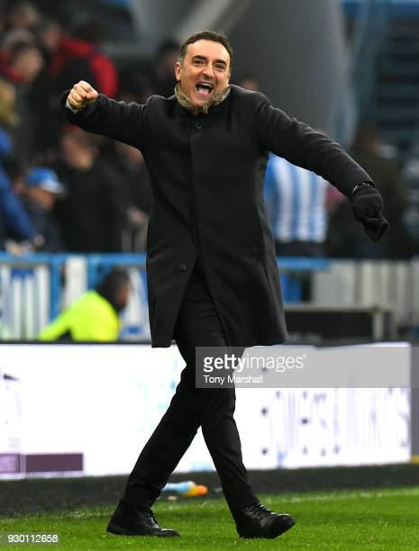 Carlos Carvalhal Manager of Swansea City reacts at the end of the match during the Premier League match between Huddersfield Town and Swansea City at...
