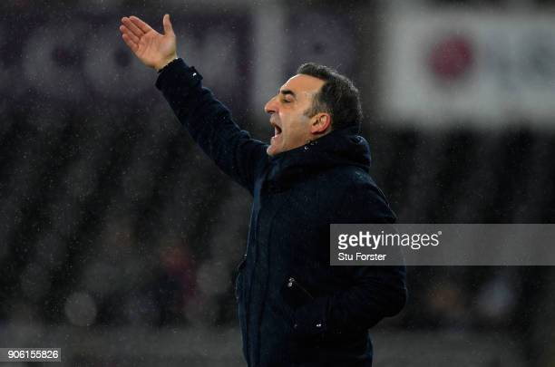 Carlos Carvalhal Manager of Swansea City reacts during The Emirates FA Cup Third Round Replay between Swansea City and Wolverhampton Wanderers at...