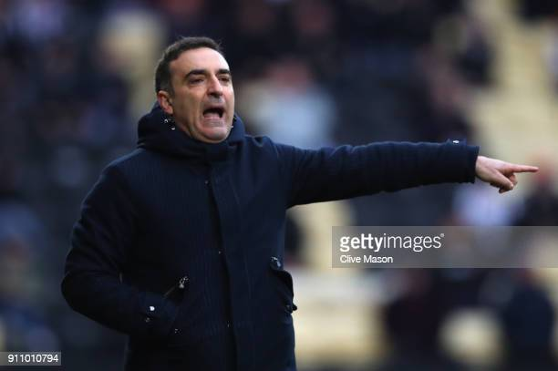 Carlos Carvalhal Manager of Swansea City reacts during The Emirates FA Cup Fourth Round match between Notts County and Swansea City at Meadow Lane on...