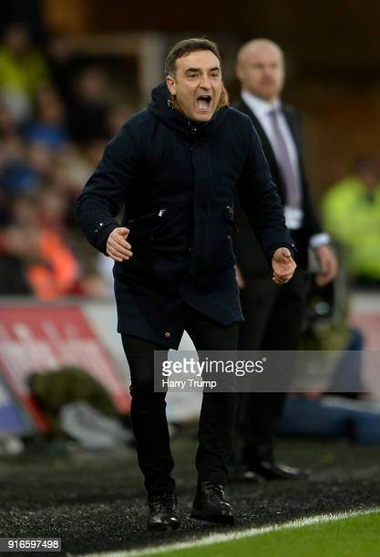 Carlos Carvalhal Manager of Swansea City reacts during the Premier League match between Swansea City and Burnley at Liberty Stadium on February 10...