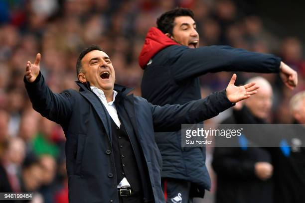 Carlos Carvalhal Manager of Swansea City reacts during the Premier League match between Swansea City and Everton at Liberty Stadium on April 14 2018...