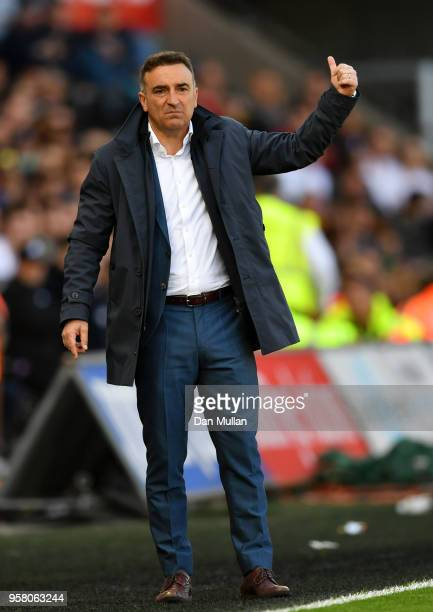 Carlos Carvalhal Manager of Swansea City reacts during the Premier League match between Swansea City and Stoke City at Liberty Stadium on May 13 2018...