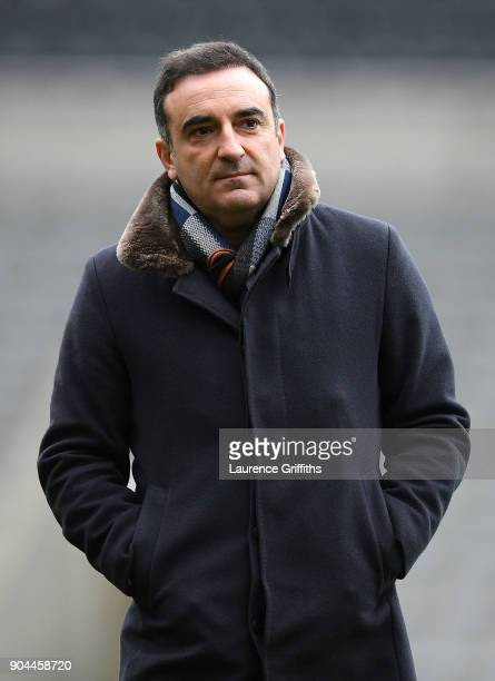 Carlos Carvalhal Manager of Swansea City takes a look around the stadium prior to the Premier League match between Newcastle United and Swansea City...