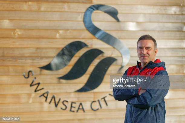 Carlos Carvalhal poses for a portrait after being unveiled as New Swansea City Manager at The Fairwood Training Ground on December 28 2017 in Swansea...