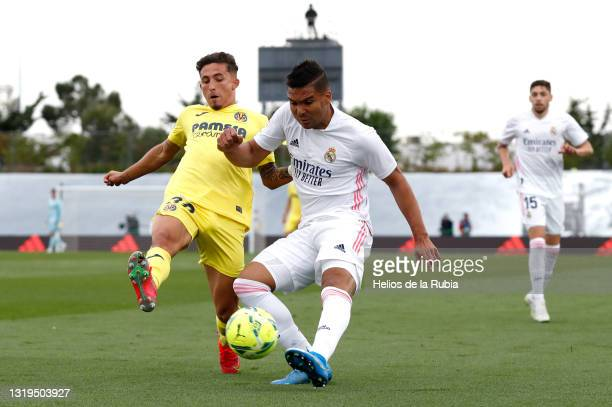 Carlos Casemiro and Federico Valverde both of Real Madrid in action during the La Liga Santander match between Real Madrid and Villarreal CF at...