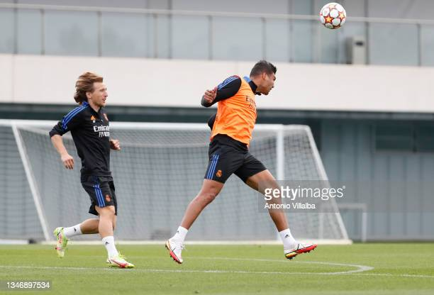 Carlos Casemiro and Luka Modric of Real Madrid are training at Valdebebas training ground on October 16, 2021 in Madrid, Spain.